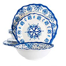 Elama Garden 12-Pc Scalloped Lightweight Melamine Dinnerware Set-Blue