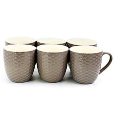 Elama Honeycomb 6-piece 15 oz. Mug Set - Deep Purple