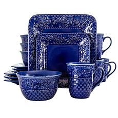 Elama Indigo Lotus 16 Piece Square Stoneware Dinnerware Set