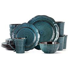 Elama Lavish Blue 16 Piece Round Stoneware Dinnerware Set in Blue