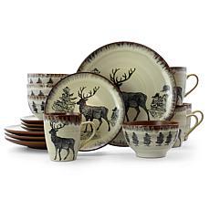 Elama Majestic Elk 16 Piece Round Stoneware Dinnerware Set in Taupe