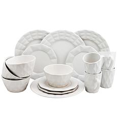 Elama Retro Chic 16-piece Glazed Dinnerware Set - White
