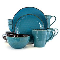 Elama Sea Glass 16 Piece Round Stoneware Dinnerware Set in Turquoise