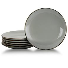 Elama Tahitian Sand 6-piece Salad Plate Set - Light Gray