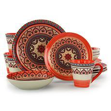 Elama Zen Rust Mozaik 16-piece Stoneware Dinnerware Set