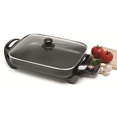 """Elite Gourmet 15"""" Electric Skillet with Glass Lid"""
