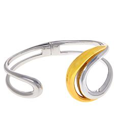 ELLE Sterling Silver Two-Tone Open Space Hinged Cuff Bracelet
