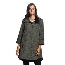 Ellen Tracy Camo Print Crinkle Raincoat w/Faux Fur
