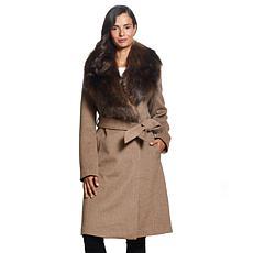 Ellen  Tracy Modern Wool Blend Wrap Coat w/Detachable Faux Fur Collar