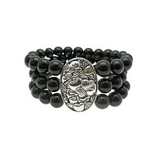 Elyse Ryan Sterling Silver Black Onyx Three-Row Beaded Bracelet