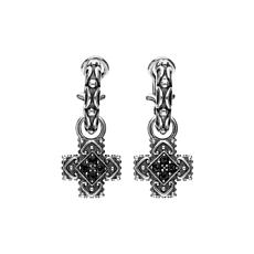 Elyse Ryan Sterling Silver Black Spinel Cross Removable Drop Earrings
