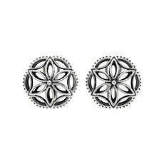 Elyse Ryan Sterling Silver Floral Motif Button Earrings
