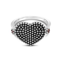 Elyse Ryan Sterling Silver Garnet and Bead Texture Heart Ring