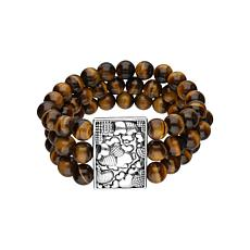 Elyse Ryan Sterling Silver Tiger's Eye Three-Row Beaded Bracelet