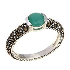 Emerald and Gray Marcasite Sterling Silver Ring - May