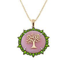 Emily & Ashley Pink Opal Tree Design Locket Pendant