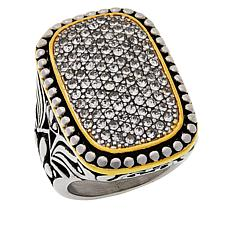 Emma Skye Pavé Crystal Beaded and Scrolled 2-Tone Antique Finish Ring
