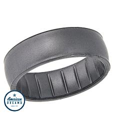 Enso Elements Classic Silver-Color Silicone Band Ring