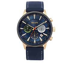 "ESCAPE Men's ""Indio"" Navy Leather Strap Chronograph/Tachymeter Watch"