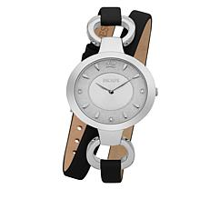 "ESCAPE Women's ""Soho"" Silvertone Black Leather Wrap Watch"