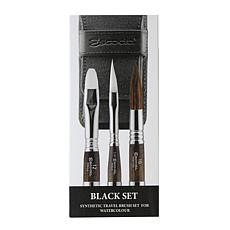 ESCODA Synthetic Watercolor Travel Brush Set 1272 Black Series