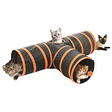 Etna 3-Way Cat Tunnel (Black with Orange Trim)
