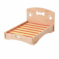 Etna Wooden Bone & Paw Design Sofa Cat & Dog Bed w/ Removable Cover