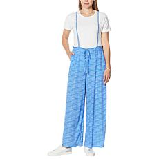 Evryday Jane Pull-On Wide-Leg Pant with Self Tie Suspenders