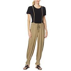 Evryday Jane Pull-On Wide-Leg Pant with Self Tie Suspenders