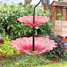 Exhart Hanging 2-Tier Glass Flower Bird Feeder