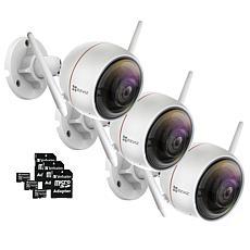 EZVIZ C3W (ezGuard) 3-pk 1080p HD Outdoor Wi-Fi Camera w/Memory Cards