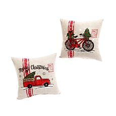 Fabric Holiday Truck and Bicycle Throw Pillows - Set of 2