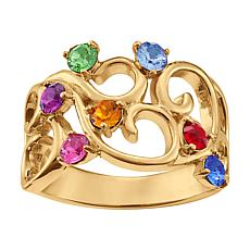 Family Crystal Birthstone Goldtone Swirled-Design Ring - 7 Stones