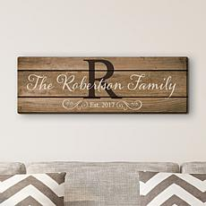 Family Name and Initial 9x27 Personalized Canvas