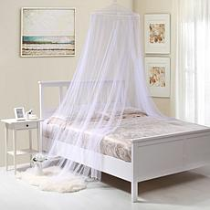 Fantasy Round Collapsible Hoop Sheer Mosquito Net Bed Canopy, White