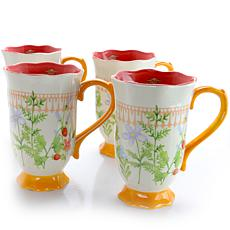 Farm Heart 4 Piece 16 oz Footed Tea Cup with Orange Floral Design