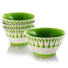 """Farm Heart 4 Piece Set of  6.4"""" Footed Bowls"""