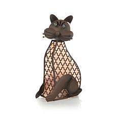 "FieldSmith Rustic Metal Solar Lighted Spring 15"" Cat"