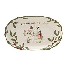 Fitz and Floyd Mistletoe Merriment Sentiment Tray