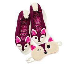 Foot Petals Critter Slipper and Sleep Mask Set