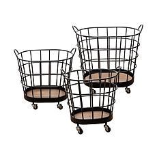 Foreside Home & Garden 3Piece Black Wire Metal Rolling Storage Baskets