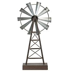 Foreside Home & Garden Large Distressed Metal Windmill Table Décor