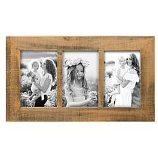 """Foreside Home & Garden Natural Wood Triple 4""""x6"""" Wood Picture Frame"""