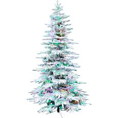 Fraser Hill Farm 10' Flocked Pine Pre-lit Multicolor Christmas Tree