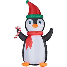 Fraser Hill Farm 10' Penguin & Candy Inflatable with RGB Lights & Bag