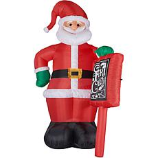 Fraser Hill Farm 10' Santa with Holiday Sign Inflatable w Lights & Bag