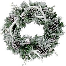 """Fraser Hill Farm 24"""" Christmas Frosted Wreath w Pinecones and Antlers"""