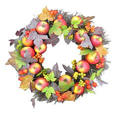 "Fraser Hill Farm 24"" Fall Harvest Wreath Door Hanging w Apples,Berries"