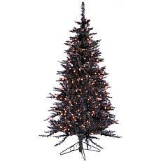 Fraser Hill Farm 5' Festive Tinsel Christmas Tree w/Clear LEDs - Black