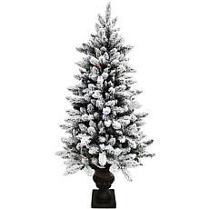 Fraser Hill Farm Indoor 5' Flocked FiberOptic Lit Christmas Tree w ...